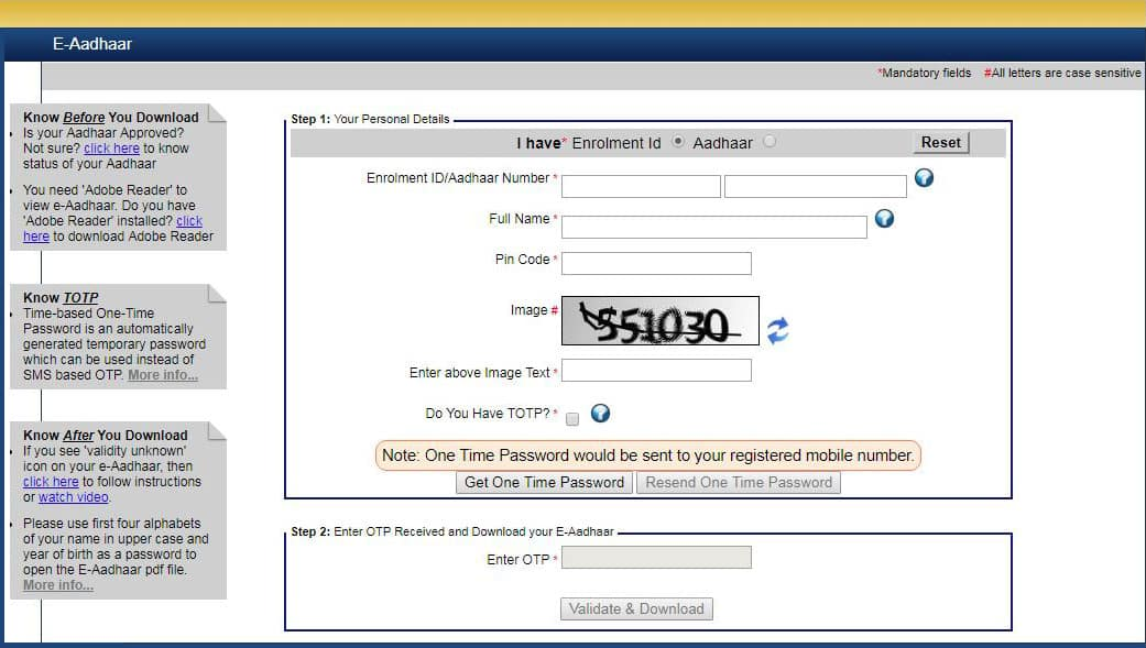 how to download e aadhar card