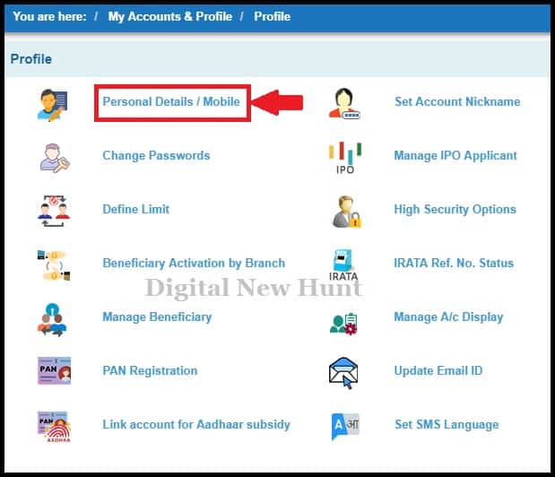 change personal email id on sbi account